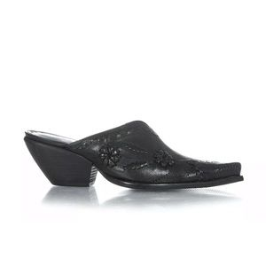 BCBGirls black leather Mules heels 5.5 slip on